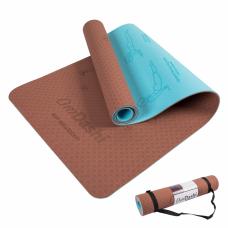 Saltea yoga reversibilă, eco-friendly, 183x61x0.6cm, Sun Salutation Flow 2 în 1, OmDashi