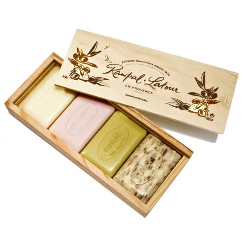 Săpunuri naturale în cutie din lemn cadou 400g, Rampal Latour